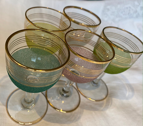 Set of 5 Pastel Frosted Mini Glasses