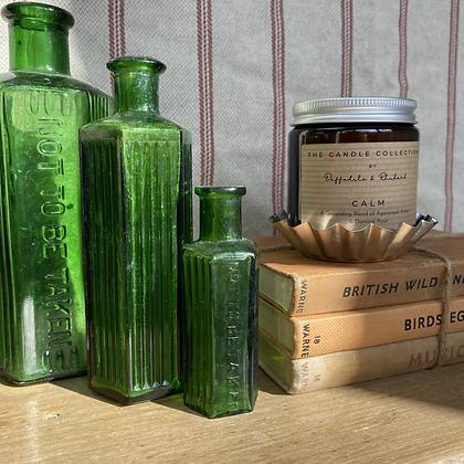 Emerald Green Poison Bottle Trio