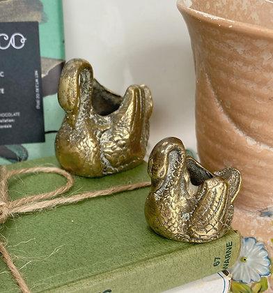Vintage Brass Swan Duo