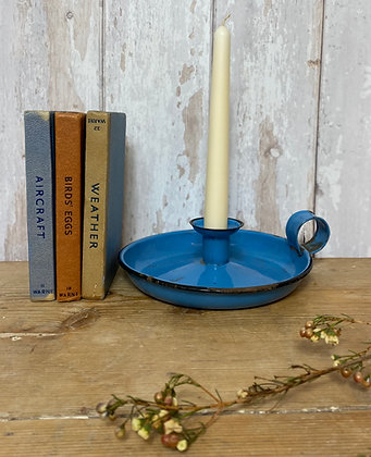 Beautiful Blue Vintage Chamber Candle Stick Holder