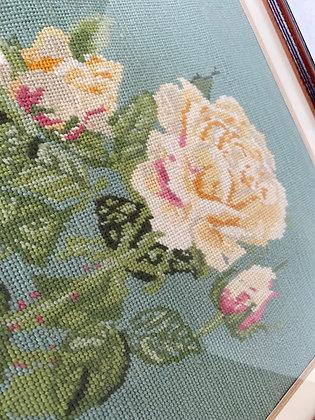 Vintage Framed Rose Tapestry