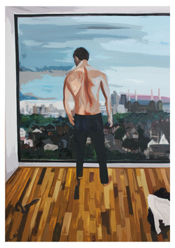 Shirtless Man views Battersea skyline