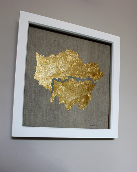 London - with River Thames Gold Leaf Map
