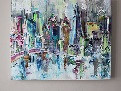 LONDON ABSTRACT PAINTING ON CANVAS