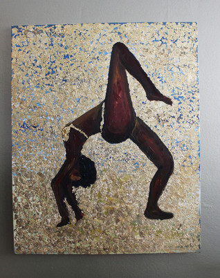 Yoga - one legged wheel pose - Gold Leaf and Oil