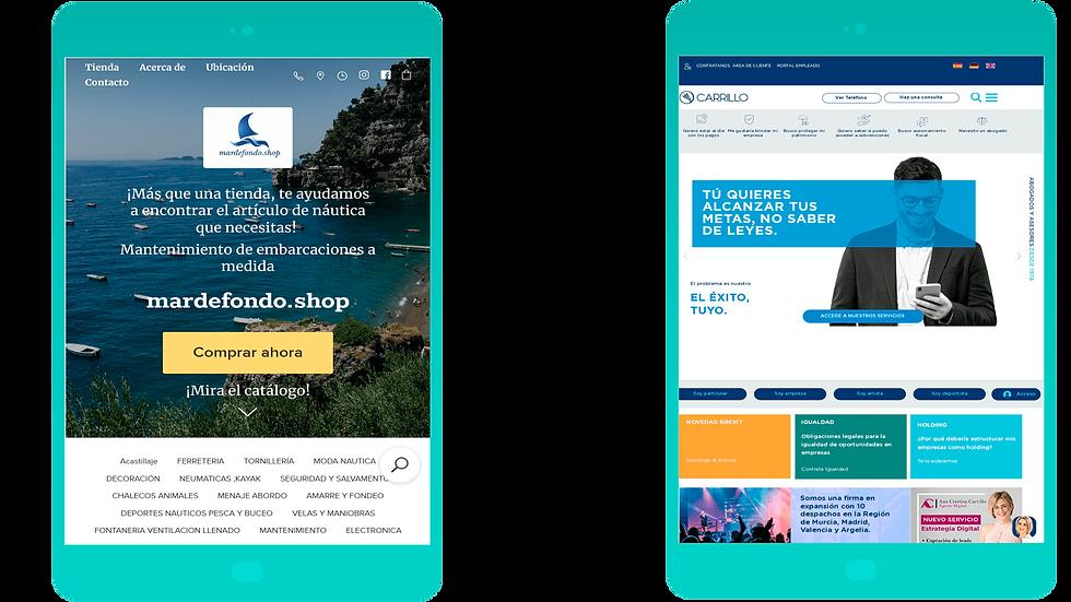 La web de Carrillo Asesores Tributarios y Abogados en  versión Tablet