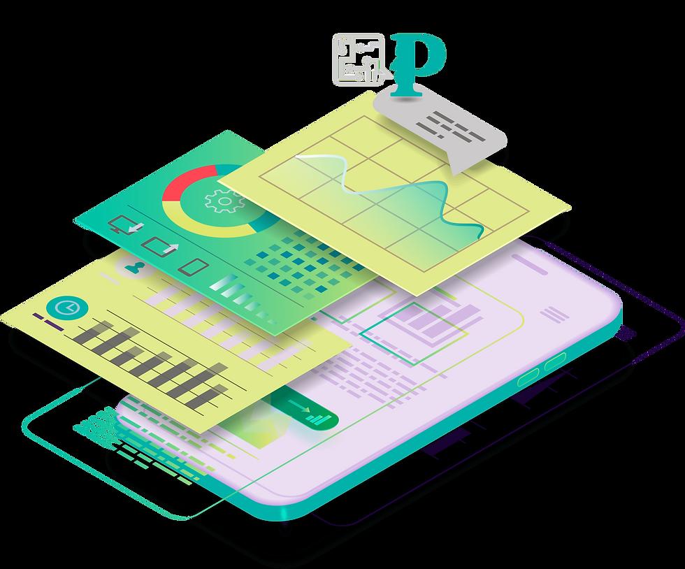 ilustración de móvil analizando datos de empresa gracias a Prosei