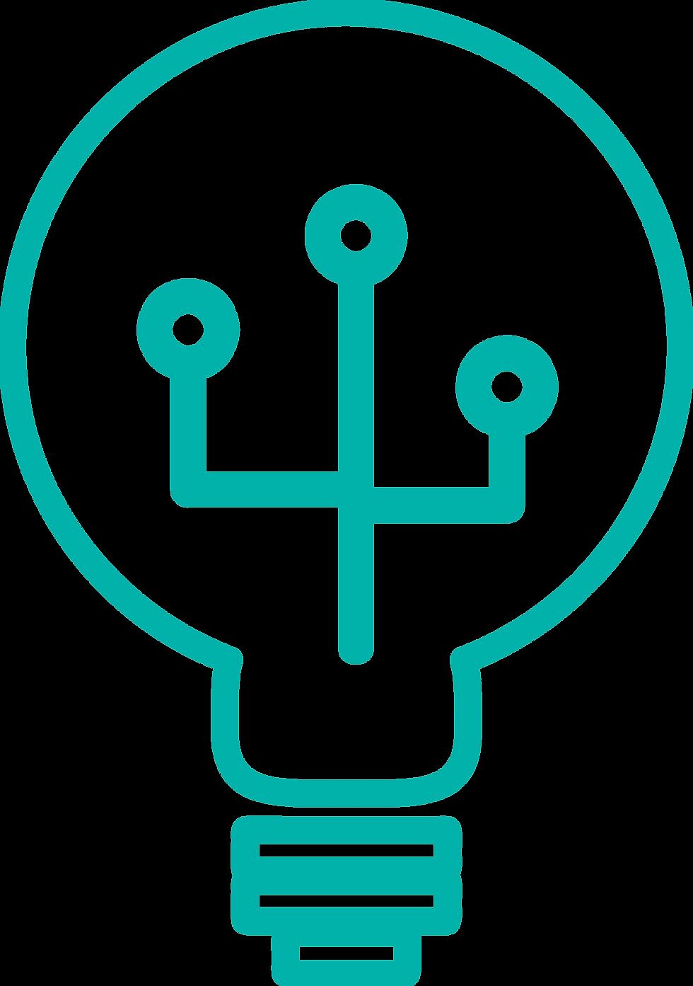 La creatividad está representada con una bombilla dado que Prosei tiene una idea única para cada uno de sus clientes.