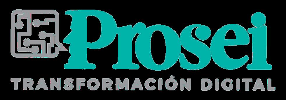 Prosei se identifica con un logo formado con su nombre y un bocadillo con nodos saliendo de la boca de la silueta de la P. Esto simboliza la divulgación de la transformación digital entre personas