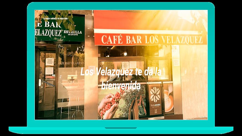 La web de Café Bar Los Velázquez en versión  ordenador