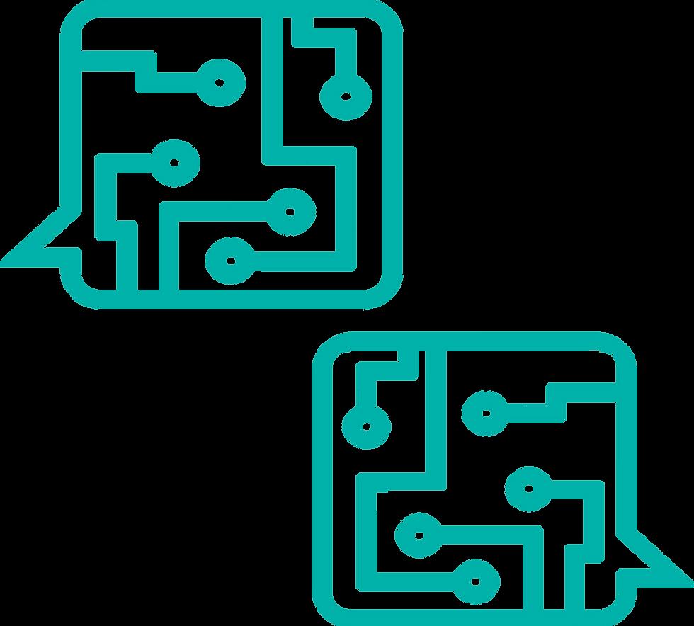 En esta imagen podemos ver dos bocadillos característicos de la empresa que representan la interacción de la empresa con el cliente.