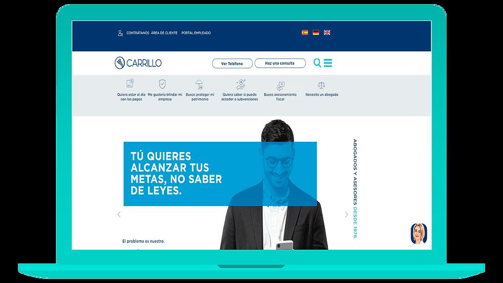 La web de Carrillo Asesores Tributarios y Abogados en  versión ordenador