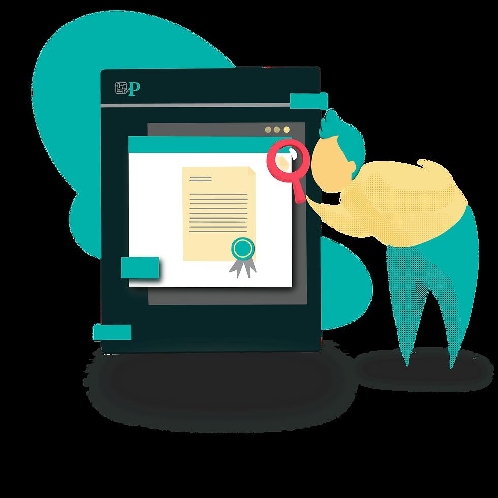 En la ilustración podemos ver una  persona revisando un documento con una lupa
