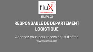 Emploi: (01) RESPONSABLE DE DEPARTEMENT LOGISTIQUE (H/F)