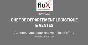 Emploi: Chef de Département Logistique & Ventes