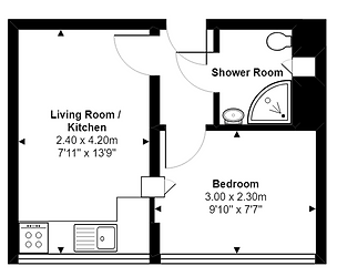 Example floor plan for 1 bed apartment