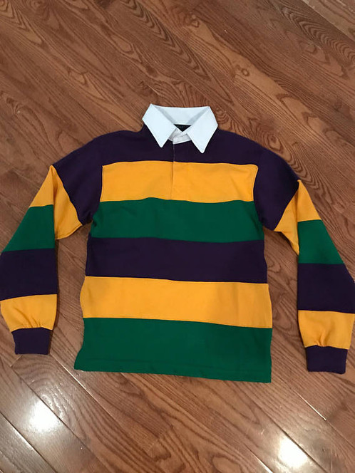 Uni Mardi Gras Purple Green And Gold Rugby Style Polo Shirt With White Colar