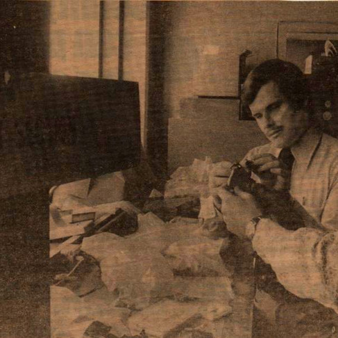 Brian with Charlie Wells examining a bomb in 1975