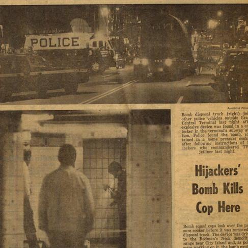 Hijackers' Bomb Kills Cop Here