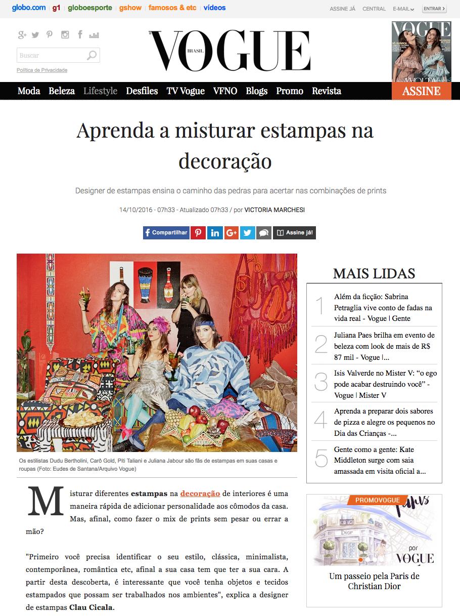 Dicas de decoração na Vogue Online
