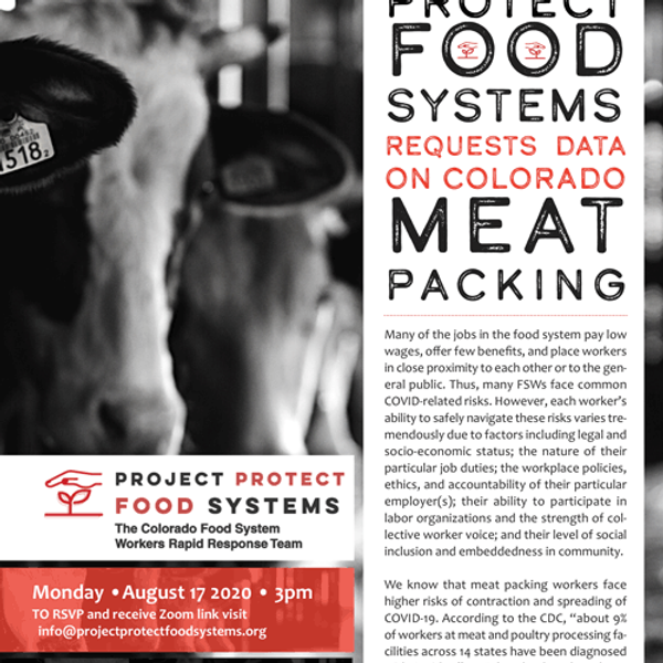 PROJECT PROTECT FOOD SYSTEMS REQUESTS DATA  ON COLORADO MEAT PACKING