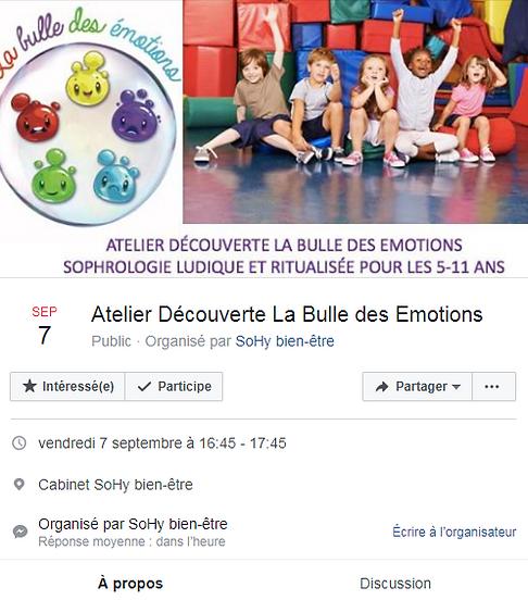 La bulle des émotions - atelier du 7 septembre
