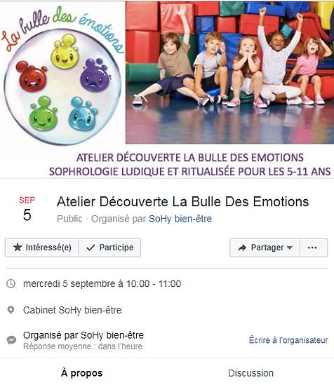 La bulle des émotions - atelier du 5 septembre