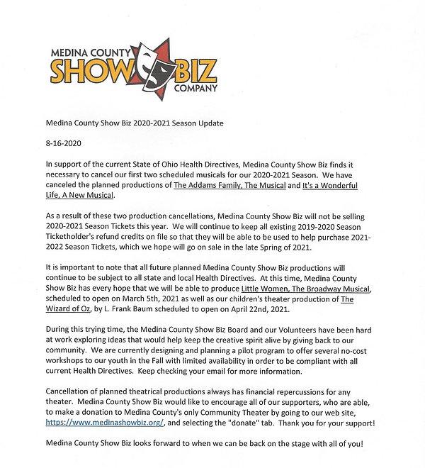 Medina County Show Biz Season     Update
