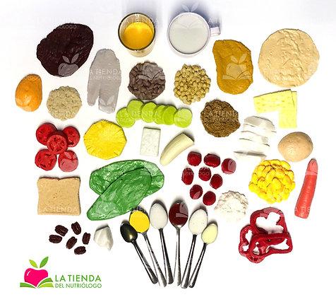 Kit de 35 réplicas de alimentos flexibles Nutrigold
