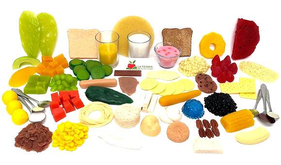 Kit de 50 réplicas de alimentos Nutrifood