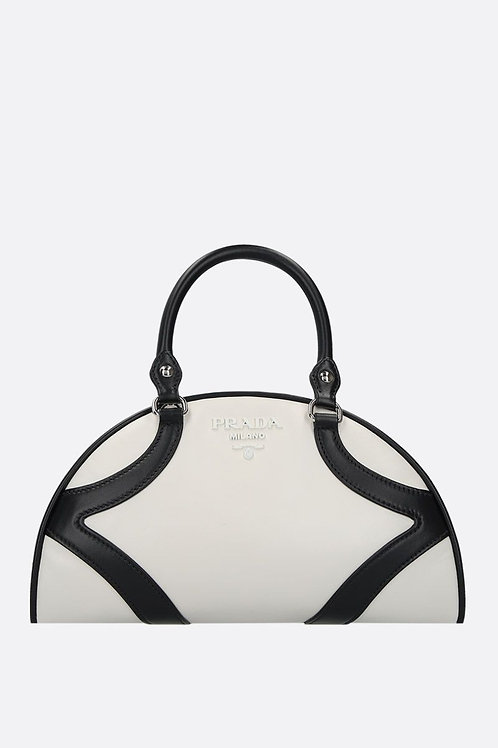 Brand New Prada Bowling Bicolor Leather Handbag