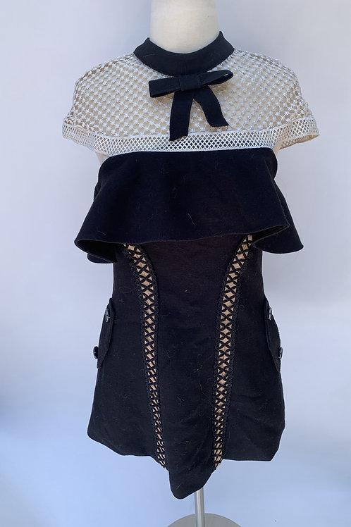 Self-portrait cap sleeve lace crepe mini dress -UK 6