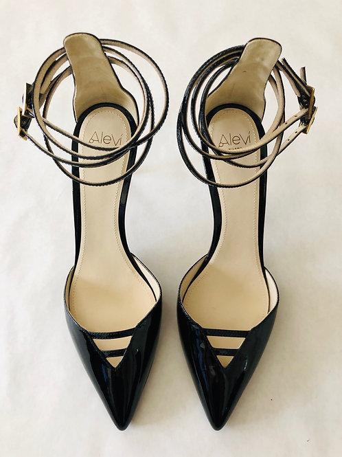 Alevi Black Ankle Strap Heel Size 7