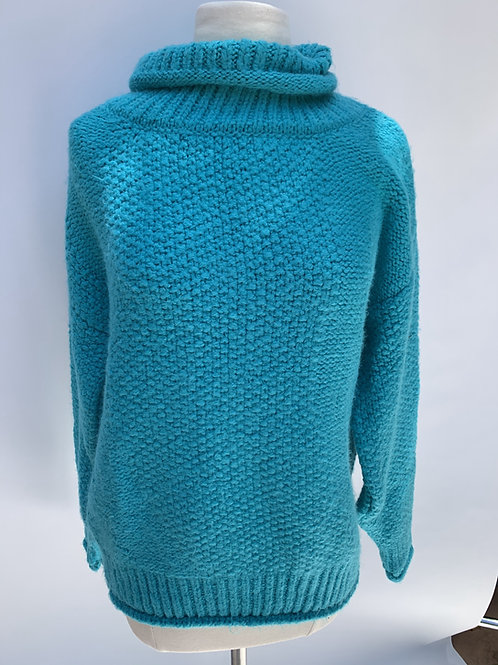 Topshop Blue Knit Turtleneck Sweater Size 4-6