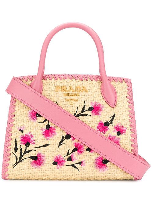 Brand New Prada Paglia Ricamo Small Tote Bag