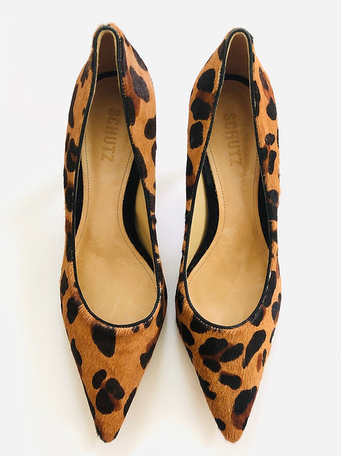 Schutz Leopard Kitten Heels Size US 10