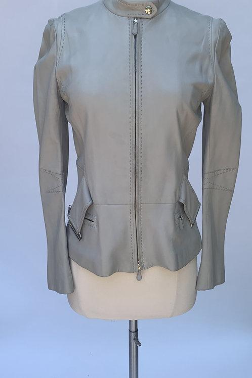 Alexander McQueen Gray Leather Jacket - IT 38