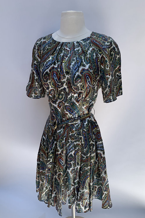 DVF Belted Paisley Dress- Size 2