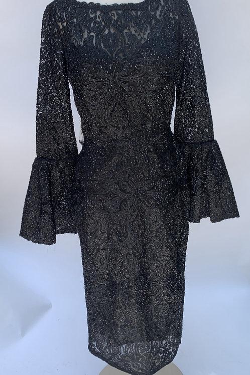Tarik Ediz Black Lace Midi Dress