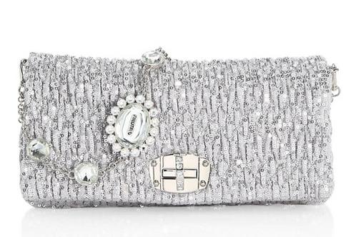 "Brand New Miu Miu ""Small Nappa Crystal Sequin Crystal"" Shoulder Bag"