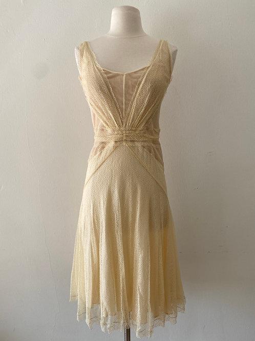 Vintage Yellow Lace Dress Size 0-2