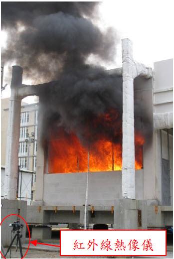 紅外線熱像儀監測結構溫度與變形情況,供消防人員研判搶救安全性