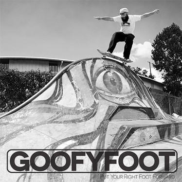 goofyfoot skateboard rainbow rail grind