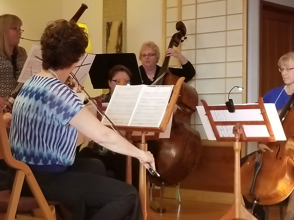 Judy Lawerence (bassoon) and strings preform in a pre concert benefit for Bainbridge Island Symphony