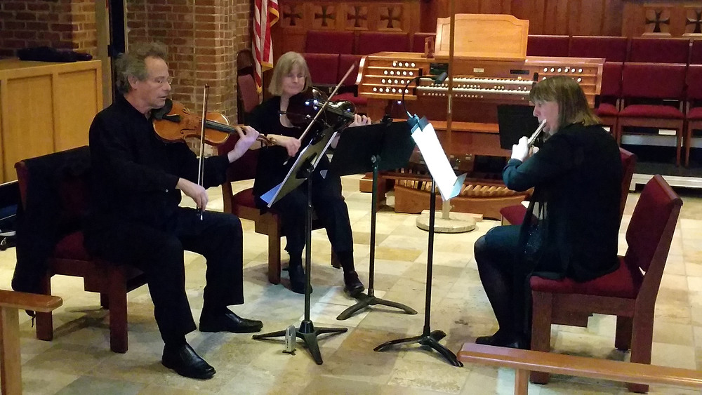 March concert and the Arthur Bachmann premiere of Wild Iris and the Mozart Serenade for Flute, Violin and Viola