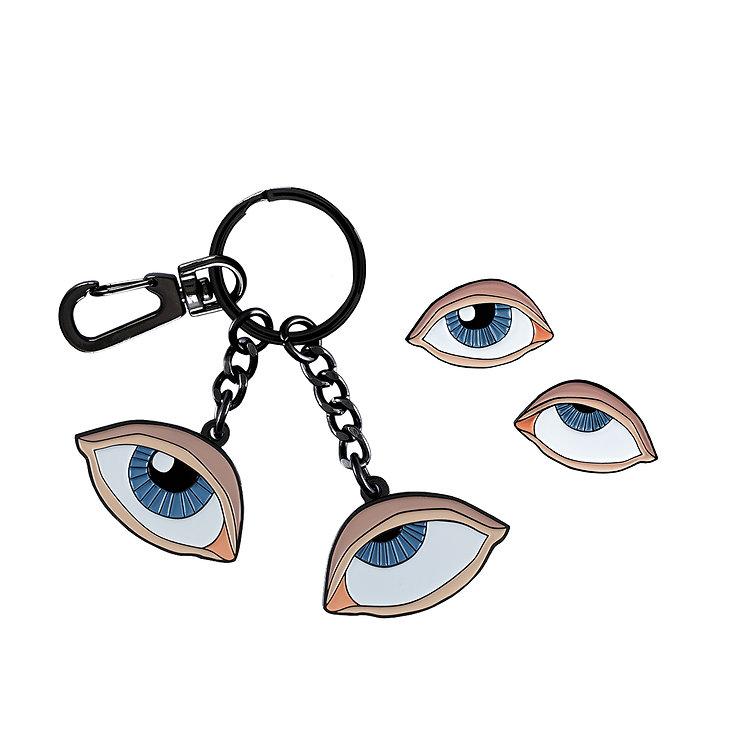 """Rolling Eyes"" Enamel Keychain and Pins Set"