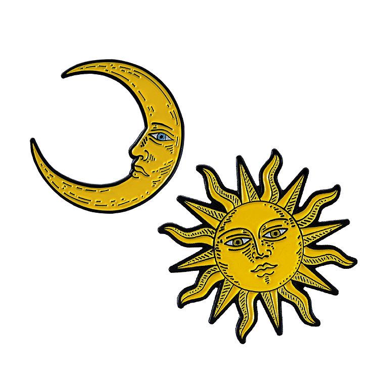 "Enamel Pins Set ""Sun and Moon"""