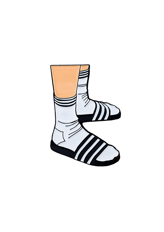 "ENAMEL PIN ""SOCKS WITH SLIPPERS"""