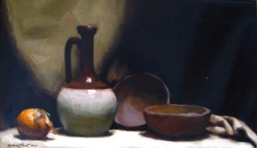 Pitcher, Onion and Bowls