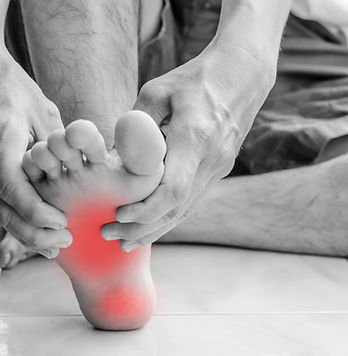 Pain in the foot. Massage of male feet.